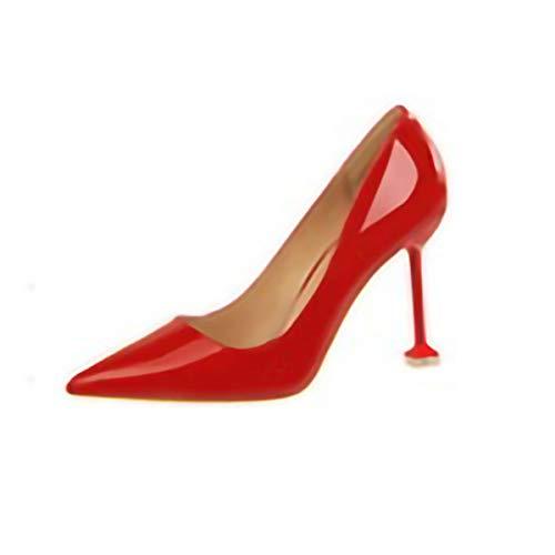WEZ WKoreanische Version der Mode einfachen Stilett mit hohen Absätzen Lackleder flachen Mund spitz sexy Nachtclub war dünn, einzelne Schuhe High Heels