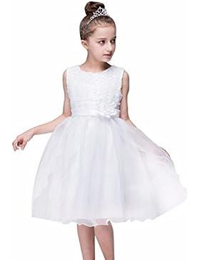 Lenfesh Vestidos de Princesa Fiestas Boda Lentejuelas Vestidos Elegantes de Noche para Niña con Flores Ropa Tutu