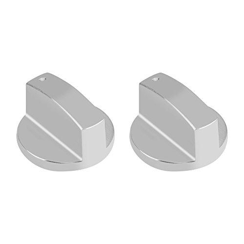 2 manopole universali per fornello a gas, in metallo argentato, per cucina a gas, forno o stufa, 8 mm