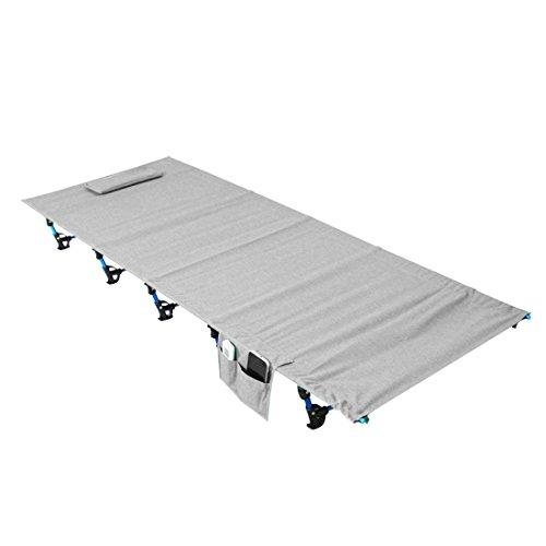Luufan Ultraleicht Klapp Camping Bett Tragbare Campingbett mit Tragetasche, Camping Liege Kinderbett Ersatz Aluminiumlegierung für Indoor Outdoor Reise Wandern Jagd (Grey)