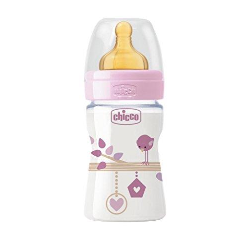 Chicco 00020610100000 Benessere Plastica Bambina Biberon, Caucciù, Flusso Regolare, 150 ml, Rosa