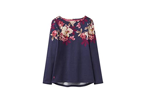 Joules Harbour Long Sleeve Floral Print Jersey Top, Navy Bircham Border Uk16