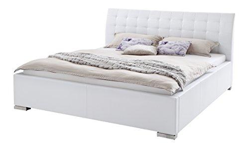 sette notti Polsterbett 140×200 cm Weiß, Bett mit XXL Kopfteil, Boxspringbett-Optik, Kunstleder Bett Liegefläche 140 x 200 cm, ISA Art Nr. 263-10-30000