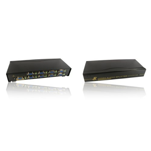 8Port Way SVGA VGA & 3,5mm Stereo Jack Audio-Splitter Box steigert Signal auch Qvga Tv