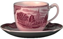Johnson Bros Old Britain Castles Pink Tall Tee Tasse 0.25ltr &Untersetzer, 6 Stück Johnson Bros Old Britain Castles