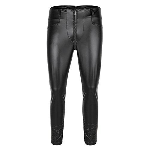 YiZYiF Herren Strumpfhosen Wetlook Glanz Lack-optik schwarz Leggings enge Hosen Unterwäsche Pants Schwarz Medium