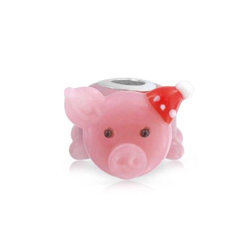 Bling Jewelry Weihnachten Santa Hut Handgewickelte Murano Glas 3D Pink Pig Raupe Charme Für Damen Für Jugendlich 925 Sterling Silber (Hut Weihnachten Santa)