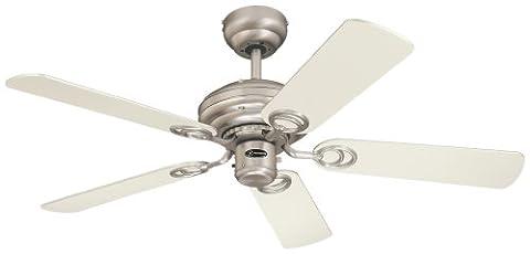 Westinghouse Ventilateur de plafond en acier brossé et érable Blanc 105 cm