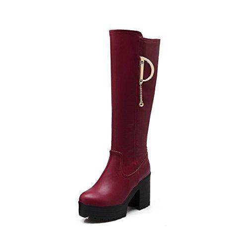 AllhqFashion Damen Blend-Materialien Rund Zehe Hoher Absatz Rein Ziehen auf Stiefel, Rot, 34