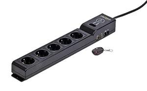 EnerGenie EG-SP5-TNCU6B-RM Barre multiprise avec 5 prises, parasurtenseur, télécommande sans fil, panneau de commande, protection réseau/téléphone/TV/audio/vidéo, 2 ports USB