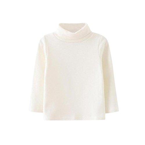 Logobeing Mangas Largas Bebé Niña de Cuello Alto Tops Camiseta Ropa de Abrigo Blanco, 18~24Mes98...