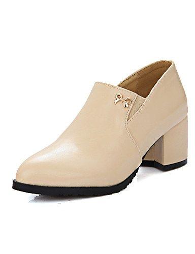 WSS 2016 Chaussures Femme-Habillé-Noir / Rose / Amande-Gros Talon-Talons / Bout Arrondi-Talons-Similicuir almond-us9 / eu40 / uk7 / cn41