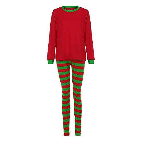 Damen Passende Weihnachtspyjamas für die Familie Set Bluse + Santa Striped Pants JiaMeng