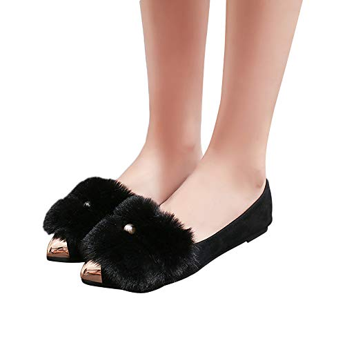 OSYARD Damen Ballerinas Comfort Basic Pumps Flache Freizeitschuhe Elegant Loafers Tanzschuhe, Mode Frauen Pointed Toe Shoes Wildleder Slip On Flache Schuhe(235/38, Schwarz)
