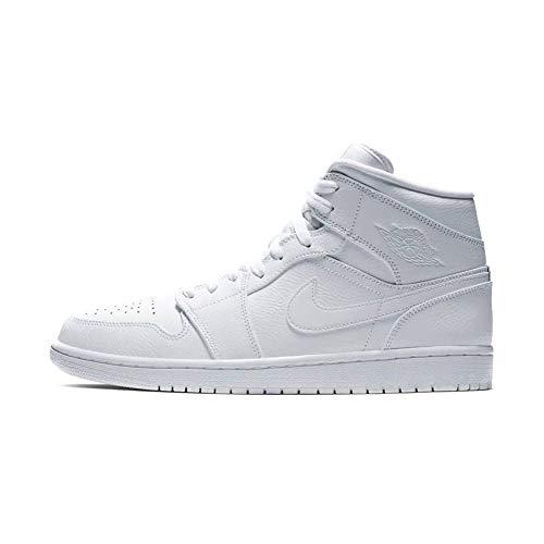big sale b42cc 1c1ea Nike Air Jordan 1 Mid, Sneaker a Collo Alto Uomo, Bianco White 129,