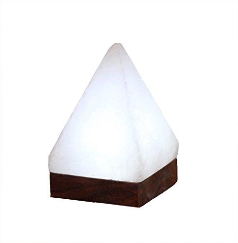 Himalaya Sel Dreams - Lumineux USB Cristal Pyramide White Line avec Socle en Bois, avec USB LED électronique, pour Ordinateur et Ordinateur Portable