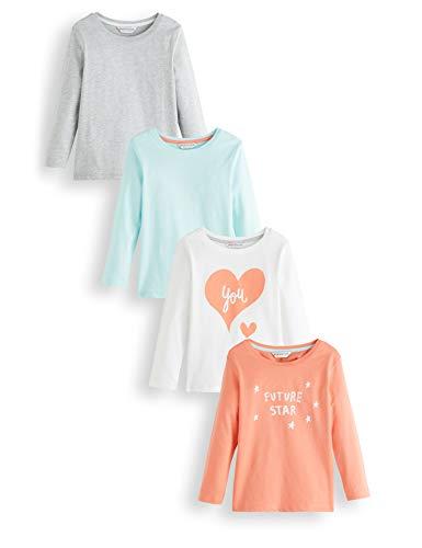RED WAGON Mädchen Langarmshirt Graphic,Mehrfarbig (Grau,Blau,Weiß,Orange), 134 (Herstellergröße: 9), 4er-Pack - Mädchen Graphic T-shirt