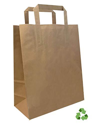 ♠ Papiertragetaschen KRAFT ♠ Silberfarbener Henkel, wiederbefüllbar, Braun, 22 x 10 x 29 cm.