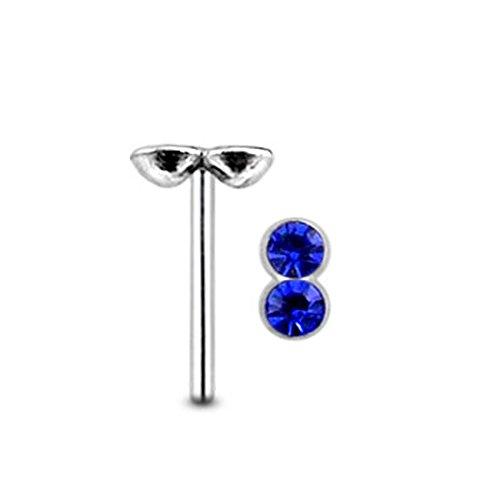 Doppelte runde dunkle Blaue Crystal Stein Top 22 Gauge 925 Sterling Silber gerade Nase Stud Piercing