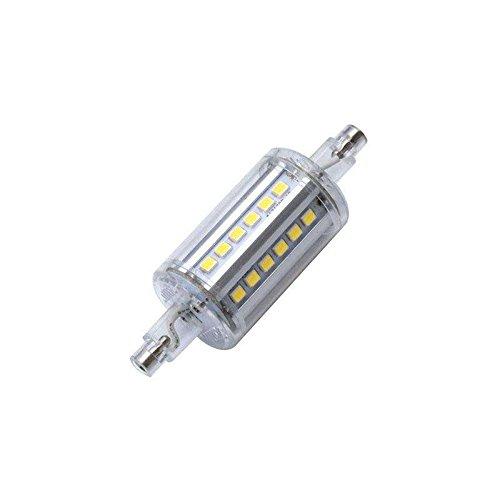 Bombilla LED R7S, 5W, 36xSMD2835, 360º, 78mm. Encapsulado de cristal, Blanco cálido