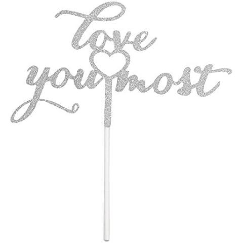 PuTwo hecho a mano 1Count decoración de pasteles cumpleaños boda de tartas, plata, Plateado, Love You Most