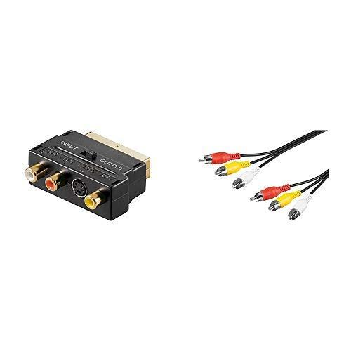 Scart Cinch Adapter vergoldete Kontakte & 380 Composite Audio Video Verbindungskabel, 3x Cinch - Cinch-video-verbindungskabel