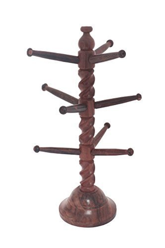 Gift for Your Loving Sister Raksha Bandhan Special Wooden Handcrafted Indian Decor Sheesham Wood Curl Design Bangles Stand , Bangle Hanger by IndiaBigShop