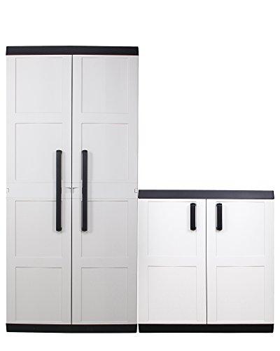 Ondis24 Kunststoffschrank Comfort XL & Beistellschrank Comfort XL Set / 4 Einlegeböden je 50 kg belastbar / abschließbar / für Ordner geeignet / ergonomische Griffe / stabil / hochwertige Verarbeitung (Griff-ordner)