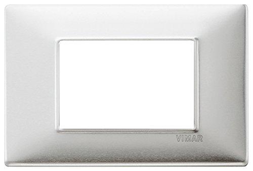 Vimar 14653.81 Placca 3 M alluminio spazzolato, 8 x 12 cm,...