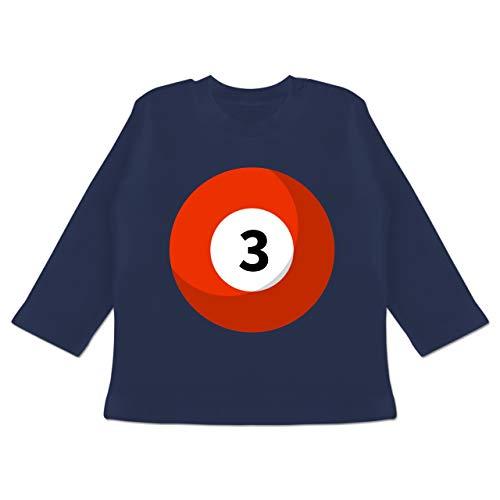 Karneval und Fasching Baby - Billardkugel 3 Kostüm - 3-6 Monate - Navy Blau - BZ11 - Baby T-Shirt Langarm