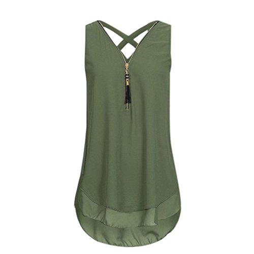 ZIYOU Damen Ärmellose Chiffon Bluse, Frauen Sommer Elegant Weste Top Hemdbluse Unregelmäßigkeit Casual Unterhemd Shirts (Grün, EU-46/CN-2XL)