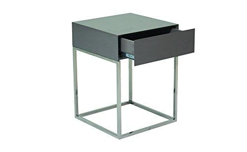 designement Luc Table de Chevet Laqué Gris 40 x 40 x 54 cm