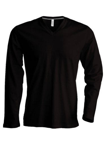 Langarm T-Shirt mit V-Ausschnitt Black