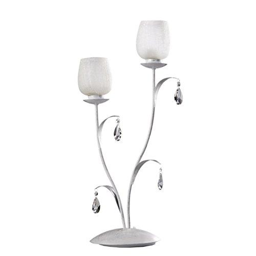 Onli olga lampada da tavolo e14, bianco spennellato argento, 30 cm x h 66 cm