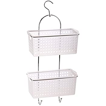2 Tier Hanging Bath Shower Caddy With Hook Plastic Basket Organiser ...