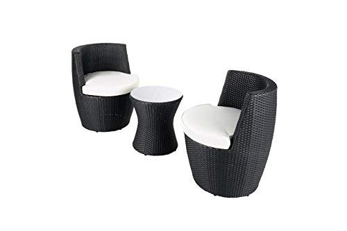 Au jardin de Chloé | Duo Salon de Jardin en résine tressée Noir KIA • 2 fauteuils + 1 Table •