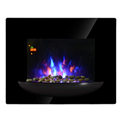 HOMCOM Chimenea Eléctrica de Pared Estufa Eléctrica Calentador de Fuego 900/1800W con Mando a...