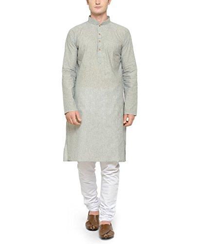 RG Designers Grey & White Cotton Kurta Pyjama Set For Men