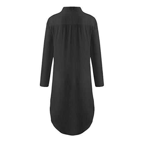 Linkay T Shirt Damen V-Ausschnitt Kurz Bluse Split Design Tops Strand Bedecken Oberteile Mode 2019 (Schwarz, Medium) -