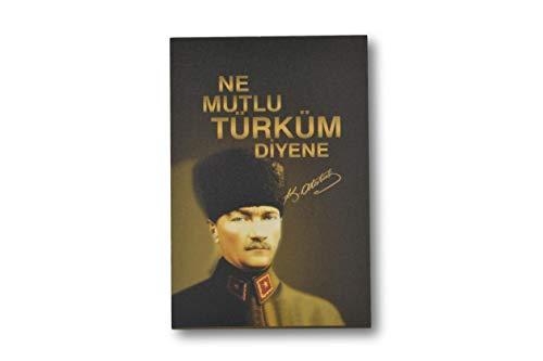 """Gök-Türk Wandbild Bild für Wohnzimmer Büro Wohnung Deko Kunstdrucke Ne mutlu türküm""""Mustafa Kemal Atatürk"""" Türkei Türkische Flagge Ay Yilldiz"""