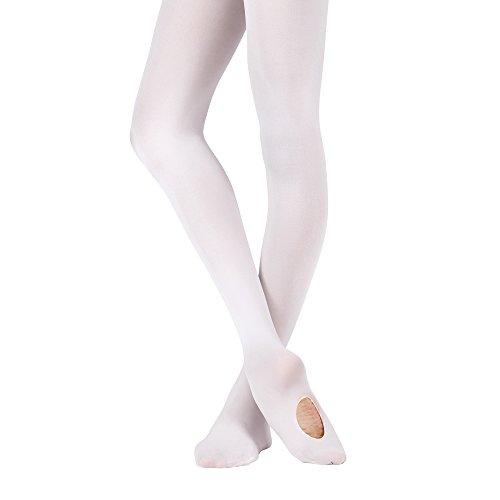 Bezioner Cabrio Ballett Strumpfhose Tanzstrumpfhose für Kinder Mädchen und Damen 1 Paar Weiß L -
