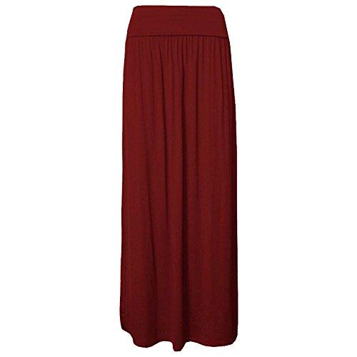 Mesdames Celeb rabattable Maxi taille Cadrage en pied Jersey Gypsy Maxi jupe Du vin