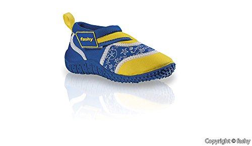Fashy® kleinkinder Outdoor Sport Chaussures de schwimmschuhe Aqua en néoprène et Mesh avec fermeture Velcro et semelle TPR Bleu/jaune