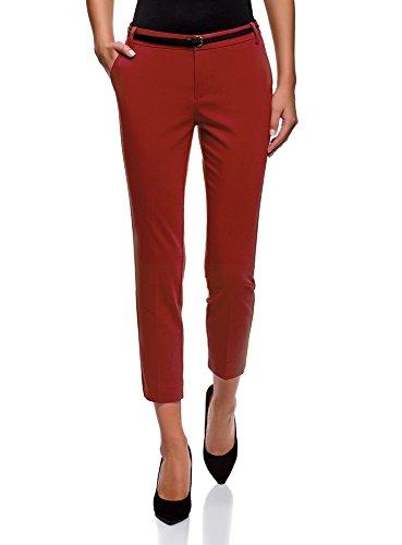 oodji Collection Damen 7/8-Hose mit Gürtel, Rot, DE 38 / EU 40 / M Collection Casual Hosen