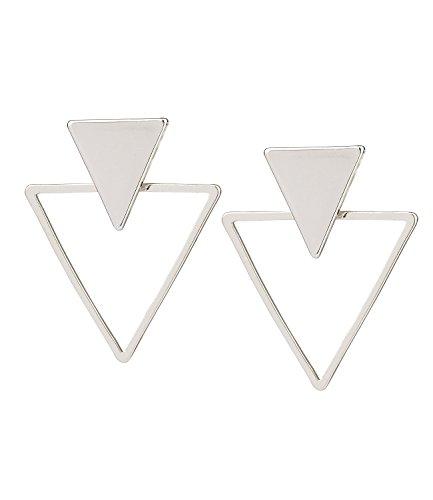 SIX Ohrschmuck, geometrischer Ohrstecker, silberne Dreiecke/Triangle, Back-Front (100-775)