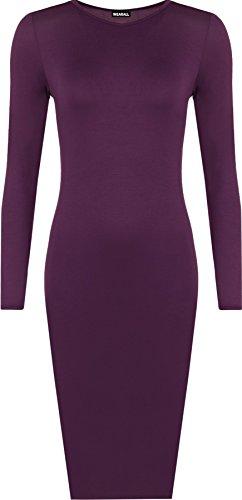 rgröße Einfarbig Figurbetontes Langarm Midi-Kleid - Violett - 52-54 (Billig Plus Size)