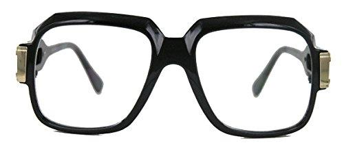 amashades Vintage Nerdies oversized Nerd Brille 70er 80er Jahre Streberbrille Retro Kassengestell Hornbrille MG (M2 Glossy Black/Gold)
