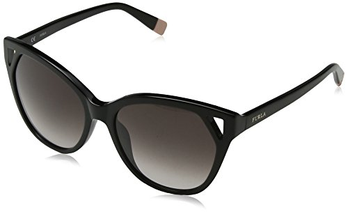 Furla eyewear, occhiali da sole donna, nero (shiny black), 55