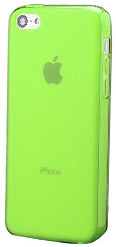 iCues Apple iPhone 5C |  TPU Matt Case Rot | [Display Schutzfolie Inklusive] Transparent Klarsichthülle Durchsichtig Klare Klarsicht Silikon Gel Schutzhülle Hülle Cover Schutz Neon Grün