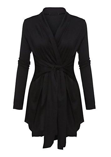 Donna Cardigan Inverno Lungo Irregolare Wasserfall Elegante Manica Lunga V Scollo Vintage Giacca Cappotto Outwear Top Nero